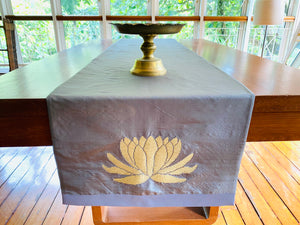 Signature Lotus Table runner ( Slate Grey & Gold )