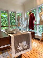 Senijari signature Lotus table runner in ( Taupe and silver )