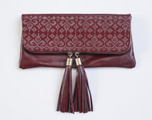 Reya Foldover Clutch Large  ( Burgundy)