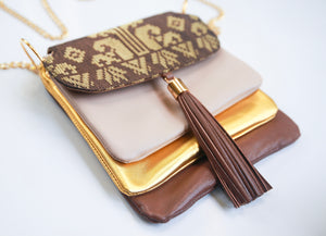 Lapis Bag ( Brown + Gold )