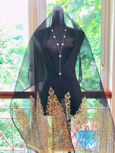 Organza Silk Songket Shawl with Lawi  Ayam Motif (Black with Gold Thread)