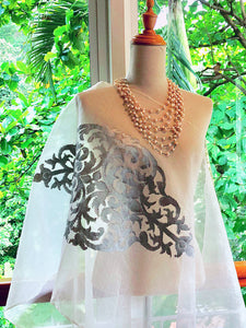 Organza Silk Songket Shawl with Malim Dewa Motif (White with Silver Thread)