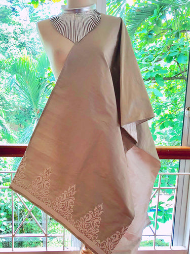 Songket Silk (Taupe + Silver Thread)