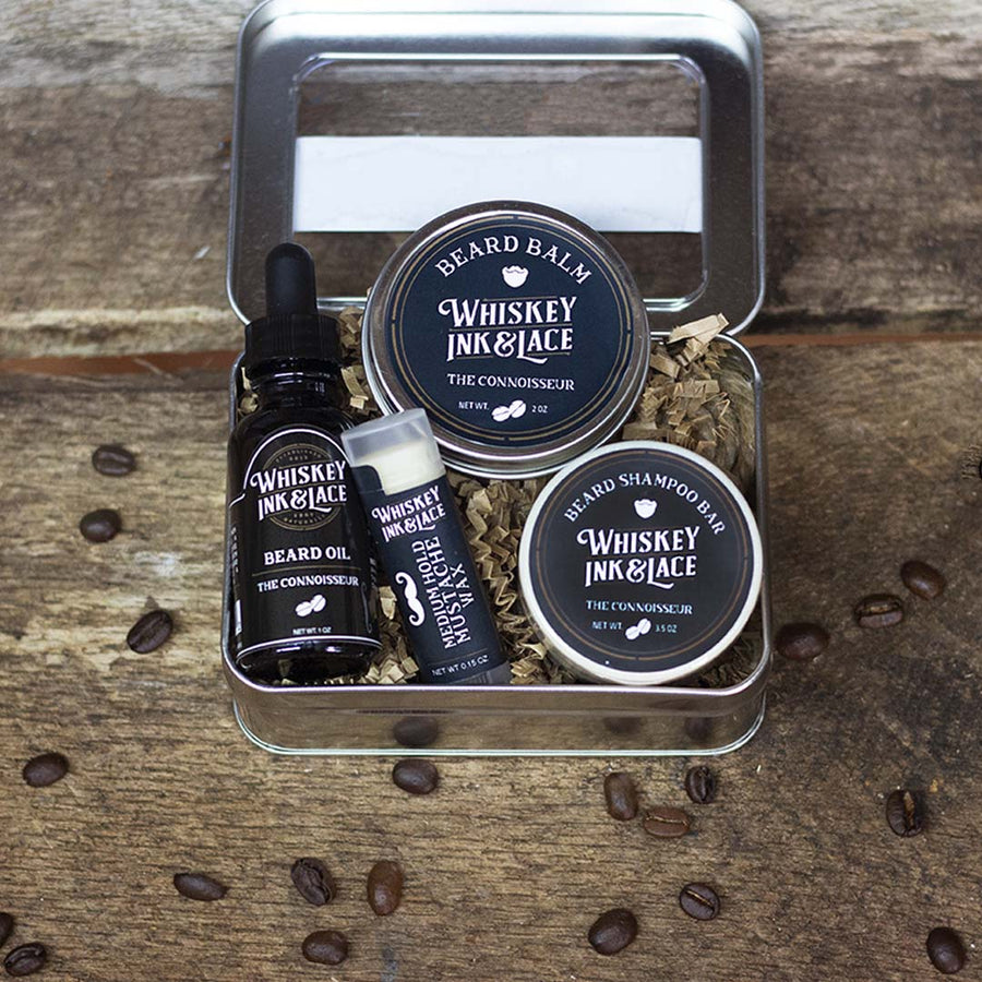 The Connoisseur Beard Kit Deluxe - Whiskey, Ink, & Lace