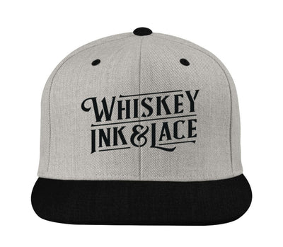 Grey/Black Classic Flat Bill Snapback Hat - Whiskey, Ink, & Lace