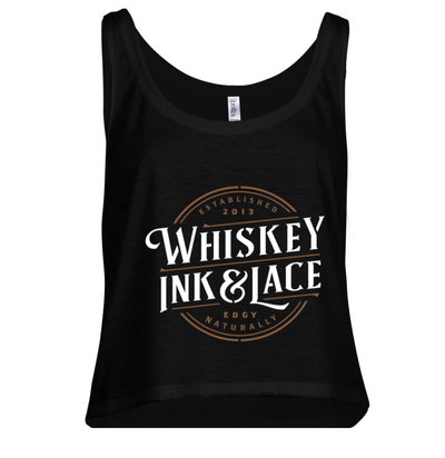 Woman's Black Crop Tank Top - Whiskey, Ink, & Lace