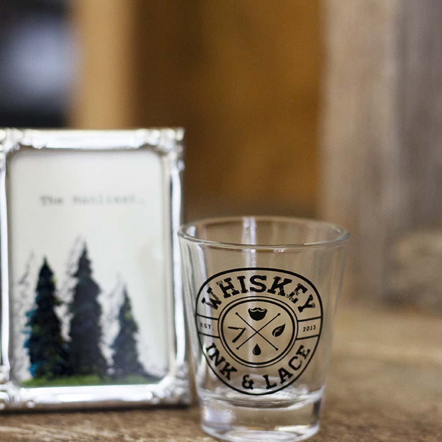 Whiskey, Ink, & Lace Circle Logo Shot Glass