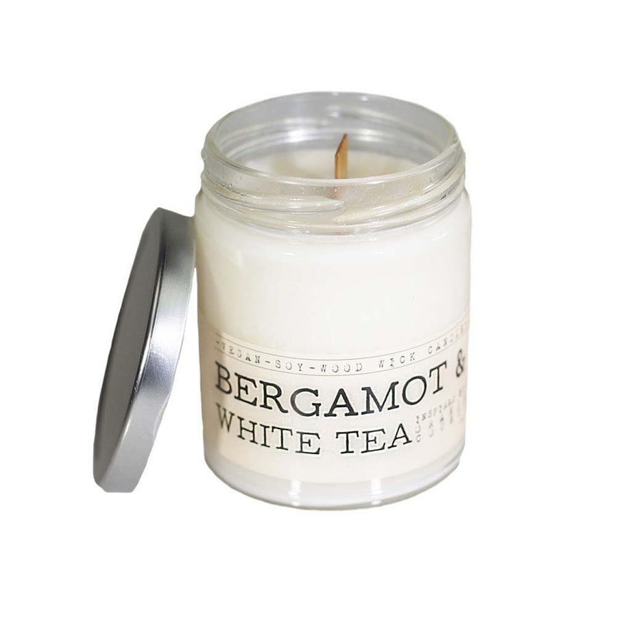 Bergamot & White Tea Wood Wick Candle - Whiskey, Ink, & Lace