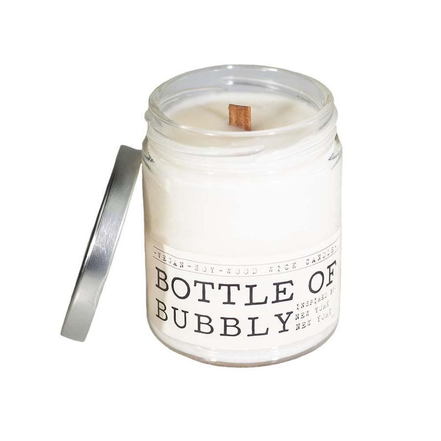 Bottle of Bubbly Wood Wick Candle - Whiskey, Ink, & Lace