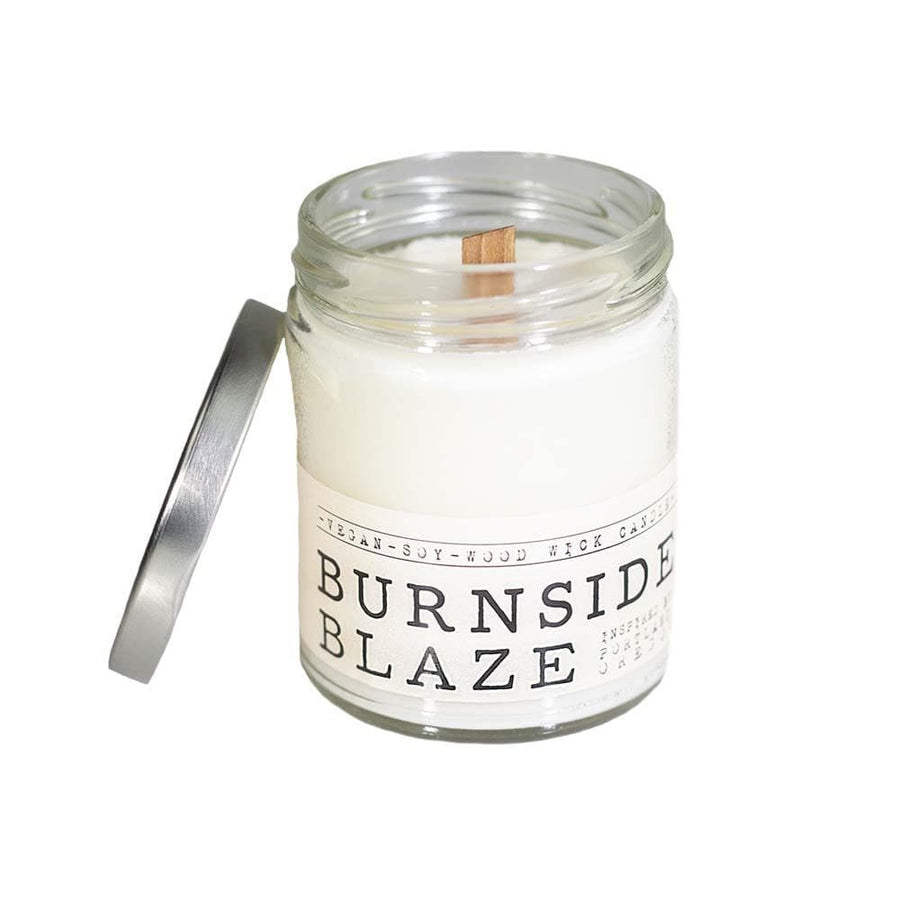 Burnside Blaze Wood Wick Candle - Whiskey, Ink, & Lace