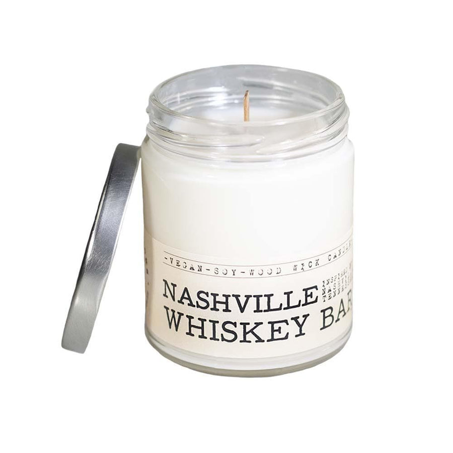 Nashville Whiskey Bar Wood Wick Candle - Whiskey, Ink, & Lace
