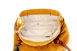 Convertible Nappy bag- Mustard with Vegan Leather Straps