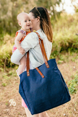 Convertible Nappy Bag- Navy with Vegan leather Straps