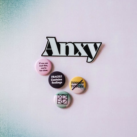Anxy Buttons and Sticker Set