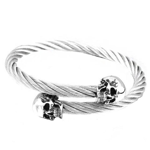 Twisting Double Skull Bangle - The Skull Crown - Express Yourself With Bold Jewelry