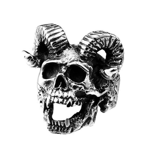 Goat Skull Ring - The Skull Crown - Express Yourself With Bold Jewelry
