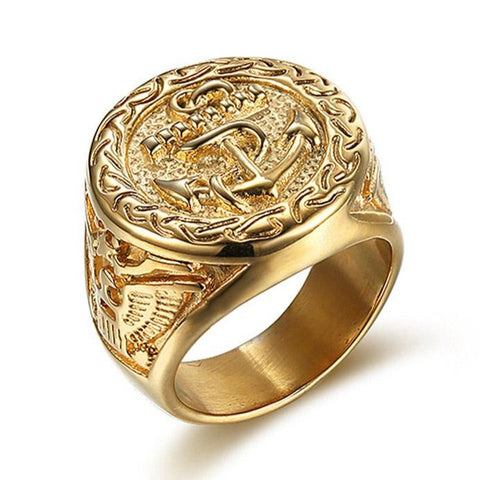 Golden Anchor Ring - The Skull Crown - Express Yourself With Bold Jewelry