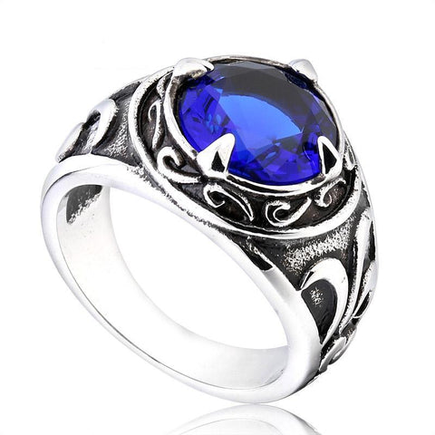 Blue Viking Ring - The Skull Crown - Express Yourself With Bold Jewelry