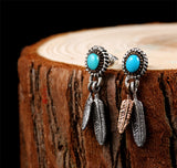 Stone Feather Earrings - The Skull Crown - Express Yourself With Bold Jewelry