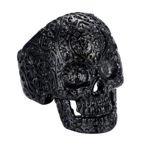 Black Flower Skull Ring - The Skull Crown - Express Yourself With Bold Jewelry