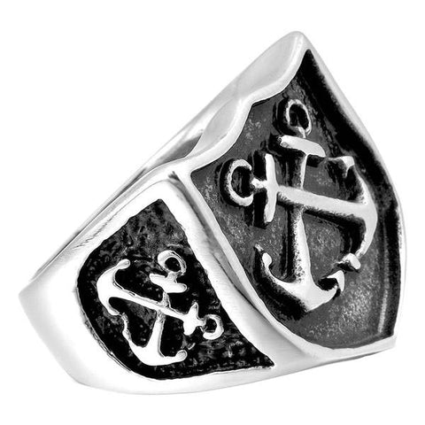 Anchor Shield Ring - The Skull Crown - Express Yourself With Bold Jewelry