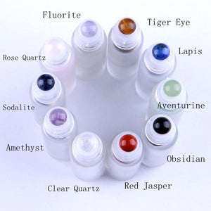 Gemstone Roller Bottle Starter Kit - Cobalt Blue Bottles, Black Tops