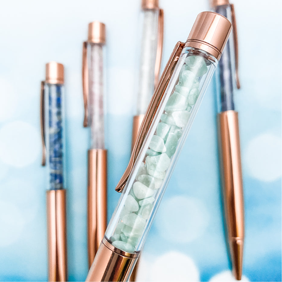 PenVibez™ Crystal Pens - Green Aventurine, Rose Gold, Blue Ink
