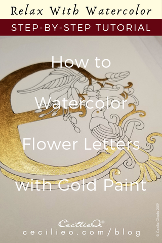 Flower Letter E With Gold and Watercolor