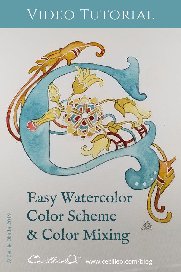 Watercolor color scheme for illuminated letter C