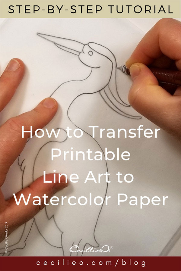 How to Transfer a Printable Line Drawing to Watercolor Paper