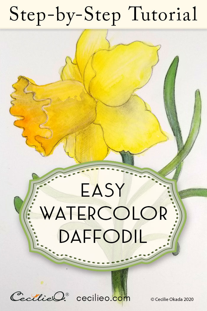 How To Watercolor a Daffodil Flower Without Fussing Over Details
