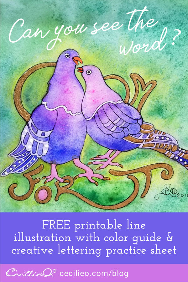 How to watercolor pigeon love birds