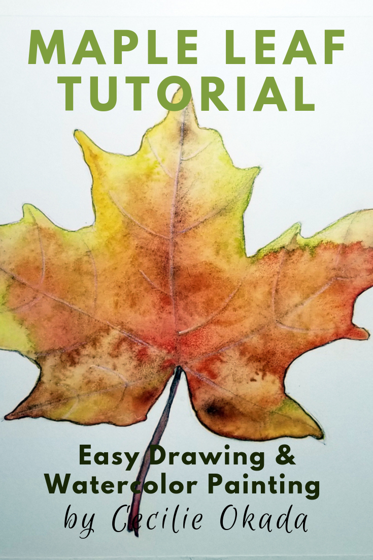 Maple leaf drawing and watercolor tutorial