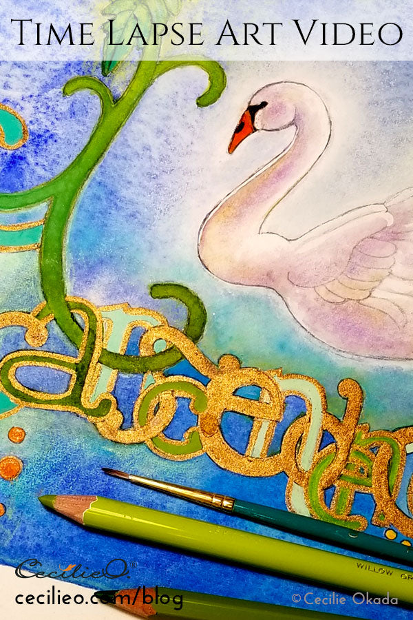 Watercolor time-lapse video of swan with creative lettering