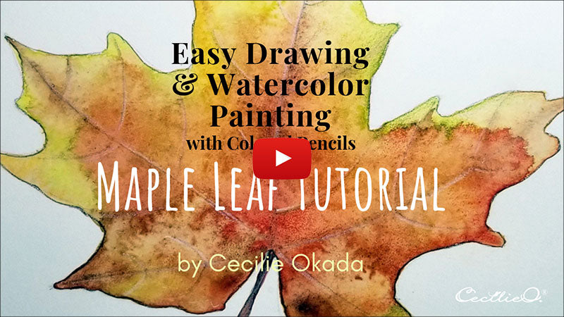 Easy drawing and watercolor painting of maple leaf. Video tutorial.