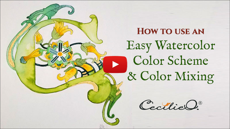 Easy watercolor color scheme and color mixing. Video tutorial.