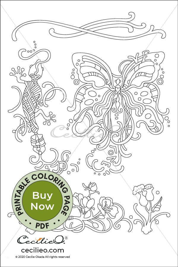 Butterfly & Gecko- Printable Adult Coloring Sheet. Instant PDF download.