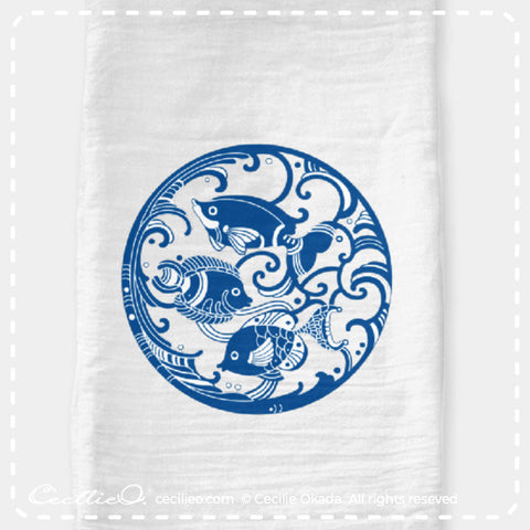 Blue circular fish design, flour sack tea towel. By Cecilie Okada