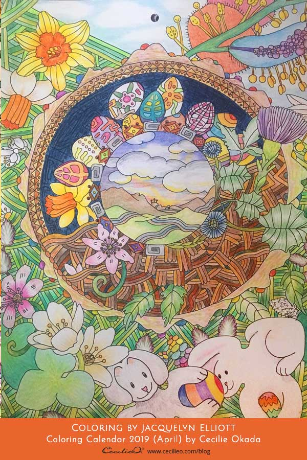 April coloring page from calendar. Coloring  by Jacquelyn Elliot.