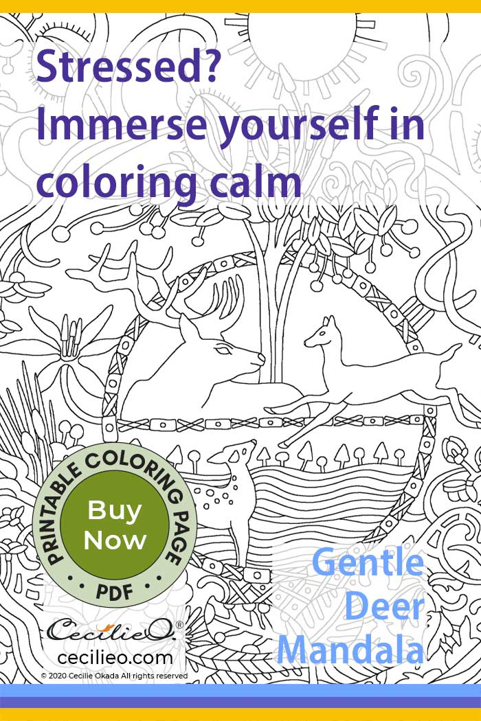 Stressed? Immerse yourself in coloring calm. Gentle Deer Mandala coloring page.