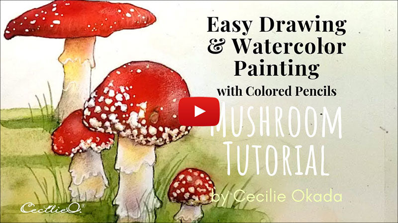 How to draw and watercolor realistic mushrooms. Video tutorial.