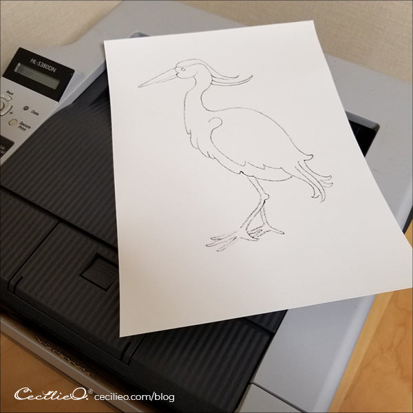 Instead of transferring by drawing, you can print with an ordinary laser printer directly onto watercolor paper.