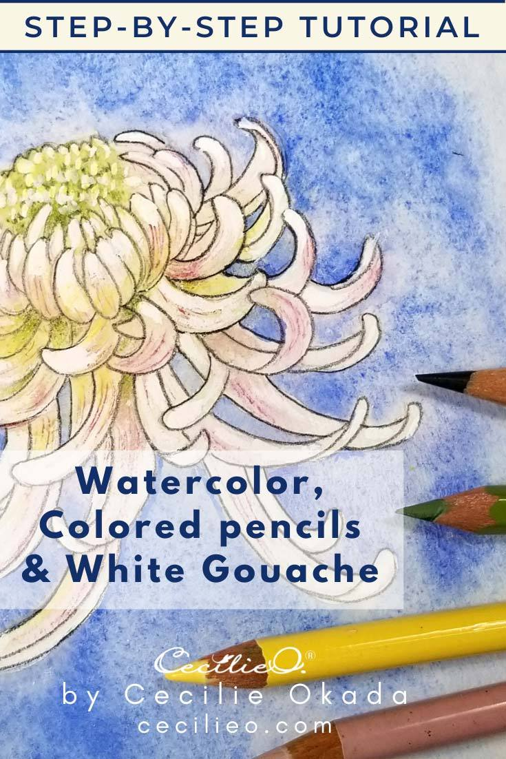 How to Watercolor a Chrysanthemum Flower 4