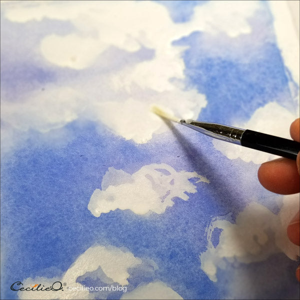 Building more volume into the clouds by adding a second layer of gouache
