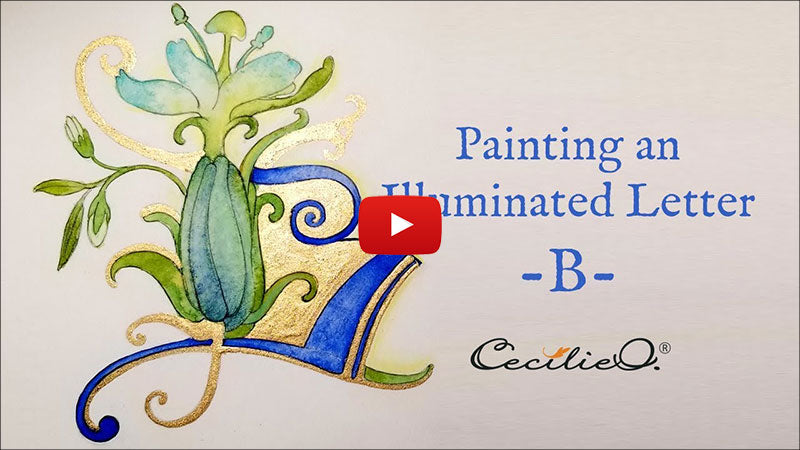 How to draw and watercolor an illuminated letter B