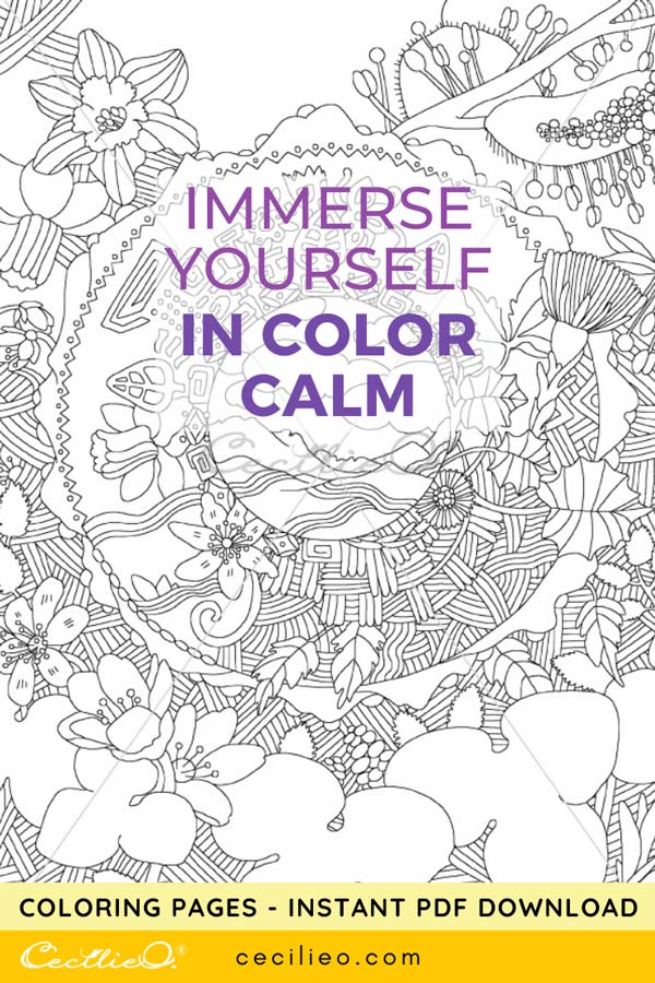 Immerse yourself in color calm. Printable coloring page for instant download.