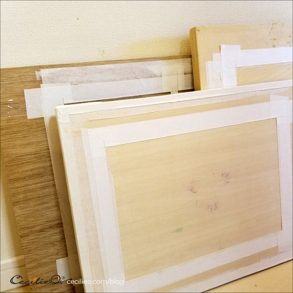 Wooden boards for mounting watercolor paper