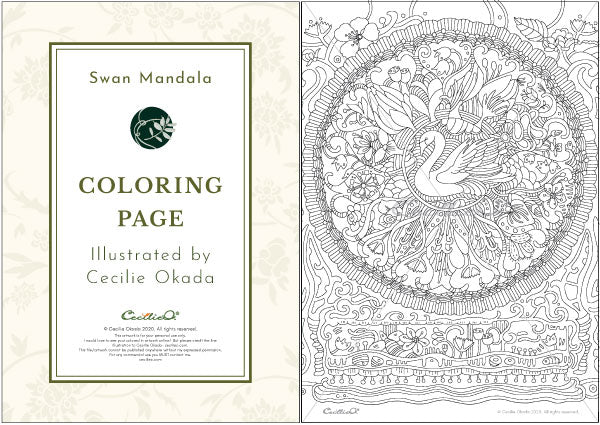 Printable coloring page, a lush and leafy swan mandala
