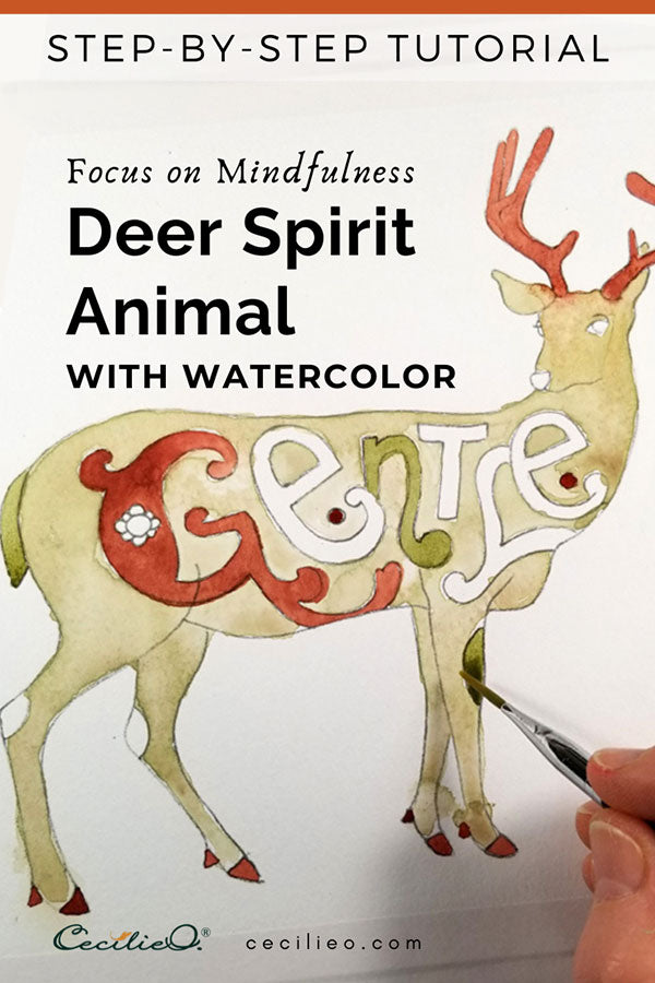 Deer spirit animal- mindfulness with watercolor