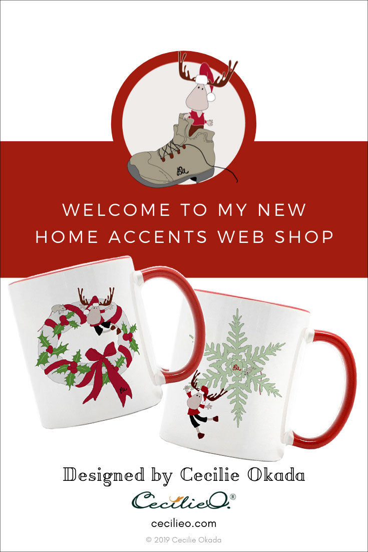 Christmas mugs with Nordic elk